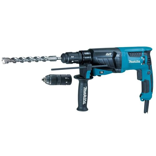 Makita HR2631FTJ poravasara SDS-Plus, 800W, bet. 26mm, 3,1kg, 2,4J, vaihtoist. AVT ja LED-valo