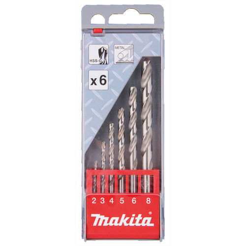 Makita D-57196 metalliporanteräsarja HSS-G 6-osaa, 2-8mm, ei 7mm